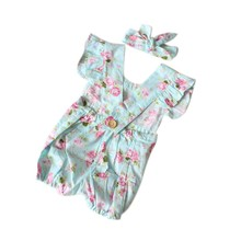 New Arrival Summer Baby Girls Cloth Set Floral Rompers Infant Kids Girl Jumpsuit + Headbands Newborns Clothing 2PCS