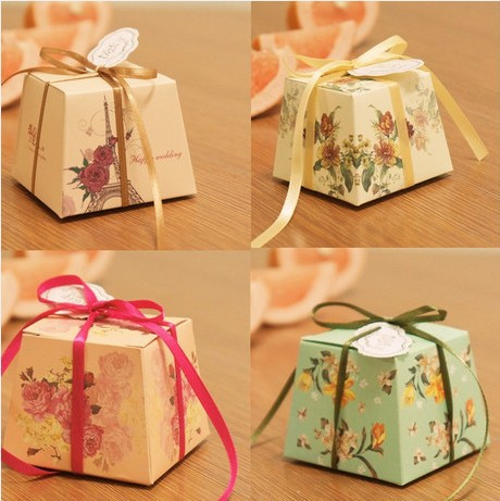 New Creative Wedding Candy Box L Size Paper Trapezoidal Design Bags