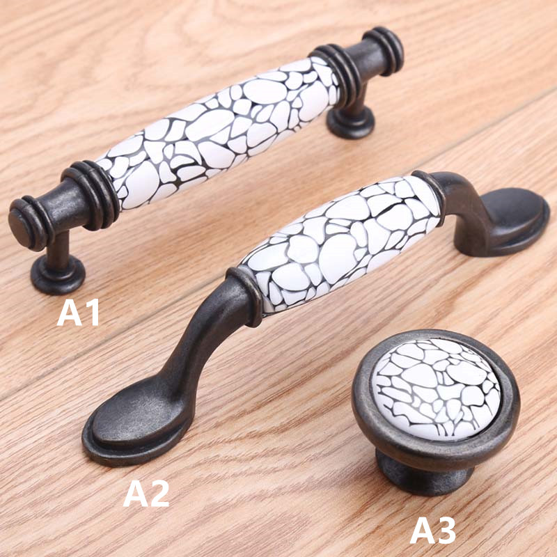 96mm white black ceramic kitchen cabinet handles black antique brass drawer dresser knobs pull Retro style furniture handle knob 10pcs pure copperkitchen cabinet handles and knobs black furniture handle for kitchen cabinet drawer pull 96mm 128mm single hole