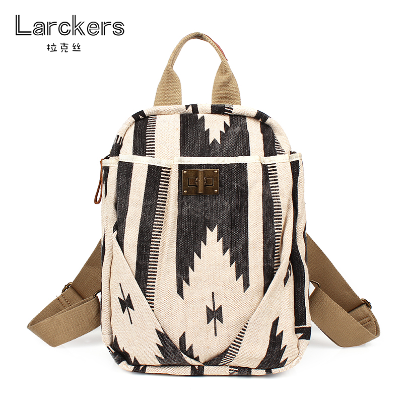 2017 canvas flavor women backpack soft materials geometric pattern literary and personality casual backpacks