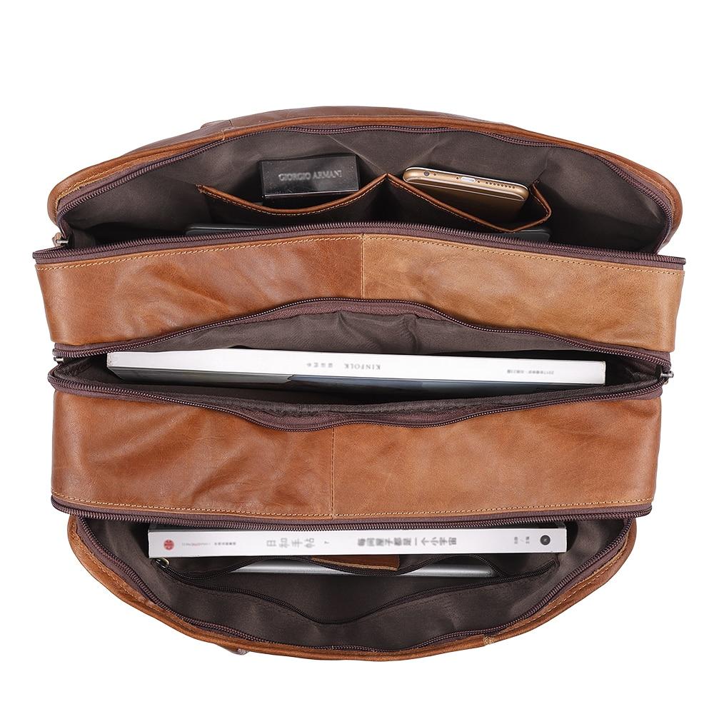 "JOYIR Vintage Men Genuine Leather Briefcase Men 15"" Laptop Handbag Cow 3 Layers Business Messenger Bags Leather Shoulder Bags"
