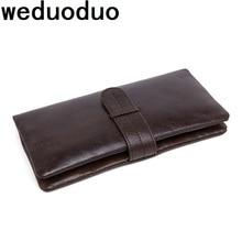 цена на Weduoduo New Wallet  Luxury 100% Top Genuine Cowhide Leather Men Long Wallet Coin Purse Vintage Designer Male Carteira Wallets