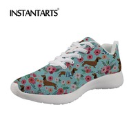 INSTANTARTS Dachshund Dog Sneakers Spring Comfortable Women's Casual Shoes 3D Pet Dog Print Flats Lace Up Mesh Zapatillas Mujer
