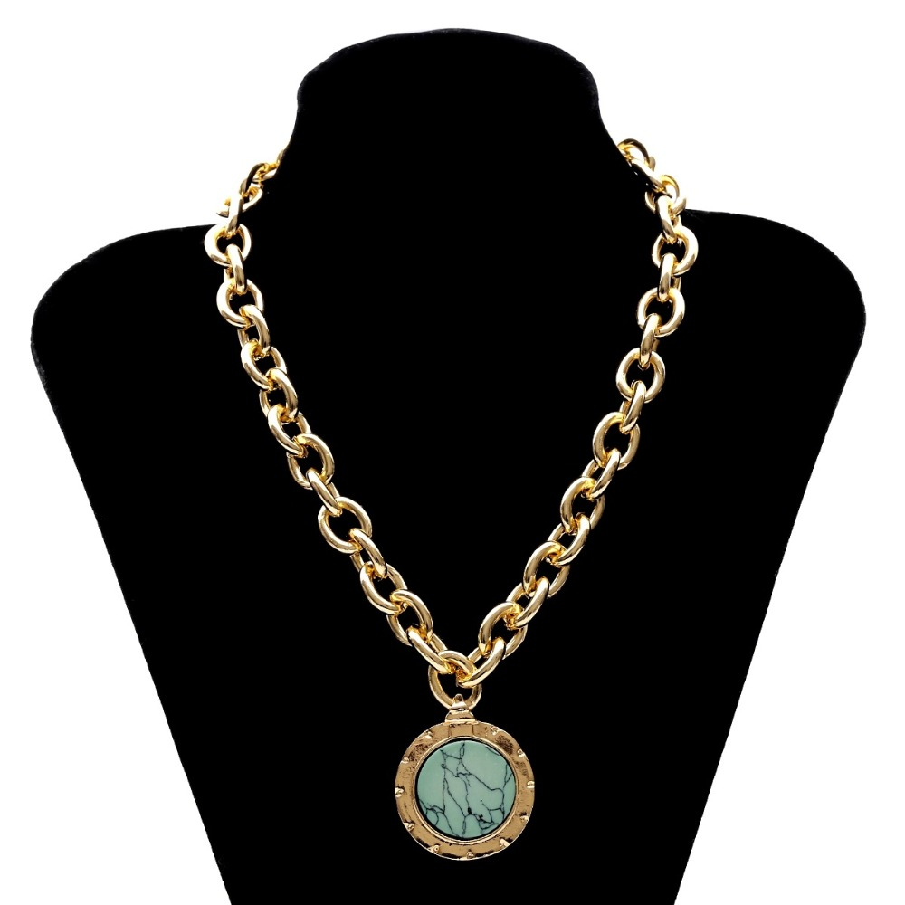 KMVEXO European and American Fashion Gold Color Temperament Round Resin Statement Vintage Chain Bib Necklaces 19 New 12