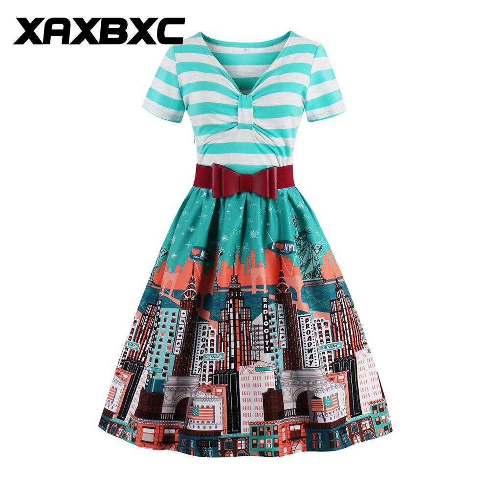 XAXBXC 2017 Autumn V Neck Vestido Stripe Patchwork City Prints 1950s Vintage Swing Women Shirt Dress Evening Party Plus Size