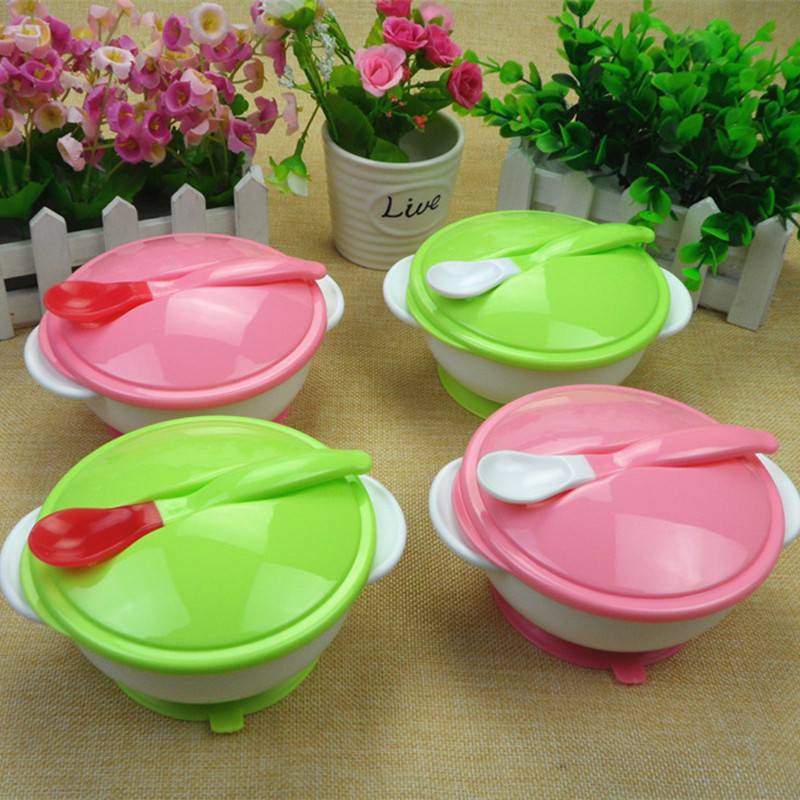 Children Tableware Covered Bowl Toddler Non Slip Baby Learning Dishes Dish  Set Suction Cup Assist Food