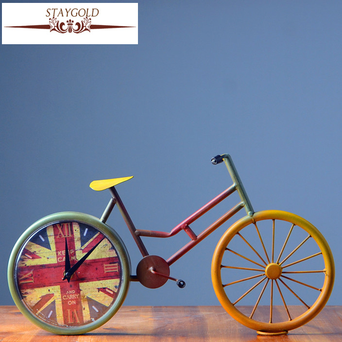 Retro Bicycle Clock Vintage Table Clock Metal Crafts Vintage Home Decor 36*20*10cm