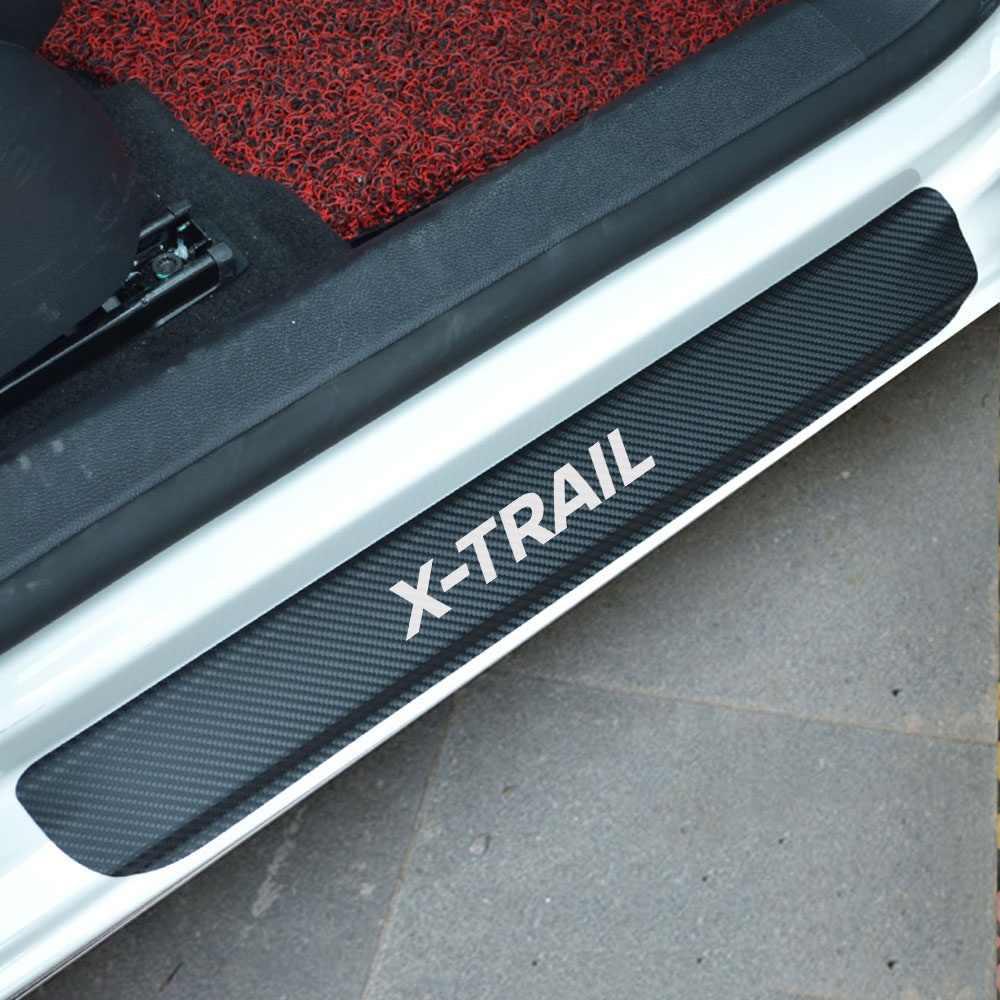 For nissan x trail parts accessories 4pcs carbon fiber vinyl sticker car door sill scuff