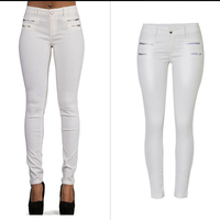 2018 Jeans Woman Zip White Pu Jeans For Women Stretch Slim Women Skinny Pencil Jeans Female Long Pants Trousers