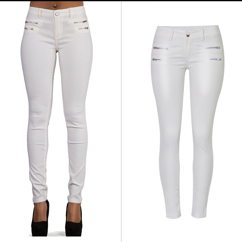 2018 Jeans Woman Zip White Pu Jeans For Women Stretch Slim Women Skinny Pencil Jeans Female Long Pants Trousers