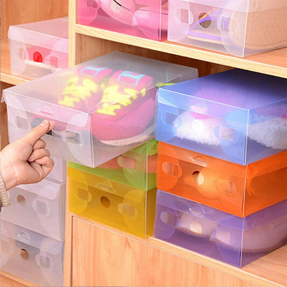 Candy Color Clear Plastic Shoebox Lady Stackable Shoes Storage Box Drawer Unit