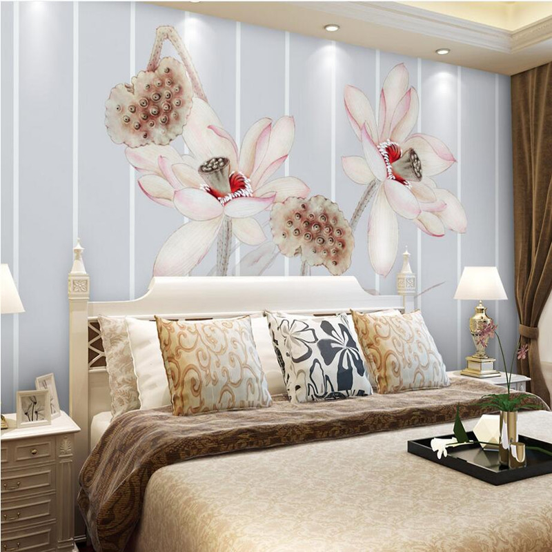 Custom Photo Wallpaper Modern 3D Wall Murals Scenery Elegant Lotus Flower TV Background Wall Paper Decorative 3D Mural Wallpaper custom 3d photo wallpaper mural nordic cartoon animals forests 3d background murals wall paper for chirdlen s room wall paper