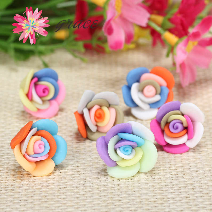 15pc/lot 20mm Mixed Pretty Fimo Flat Back Rose Flower Beads For Diy Craft Earring Bracelet Necklace Phone Case Jewelry Materials