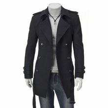 Casual Fashion Men Long Wool Blend Coat Slim Long Sleeve Cashmere Jacket Solid Double Breasted Mens