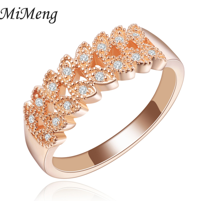 Beautiful Crown Ring In Rose Gold Color Luxury Crystal Ring For Women Leaf Shaped  Wedding Ring