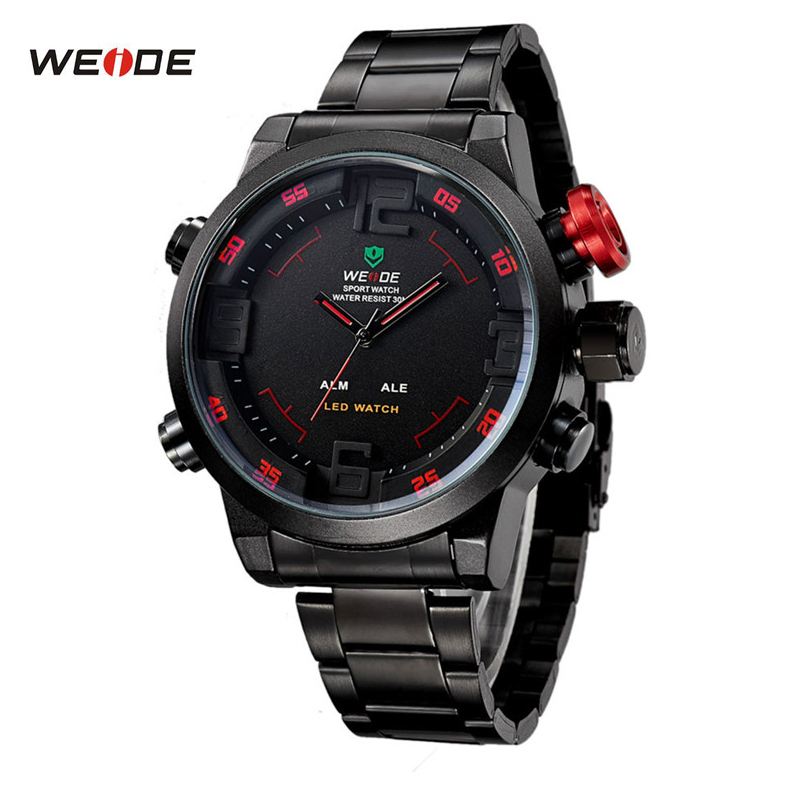 WEIDE Sport Watch Series Digital LED Stainless Full Steel Black Red Date Day Alarm Waterproof Men's Quartz Military Watches 2309(China (Mainland))