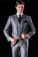 Light Grey Tuxedos with Double Pockets mens Suits for Wedding Custom made casual slim suits wedding tuxedos
