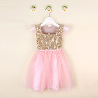 Cute Retail Baby Summer Dress Little Girl Gold Sequin Top With Pink Glitter Tulle Stitching Tutu
