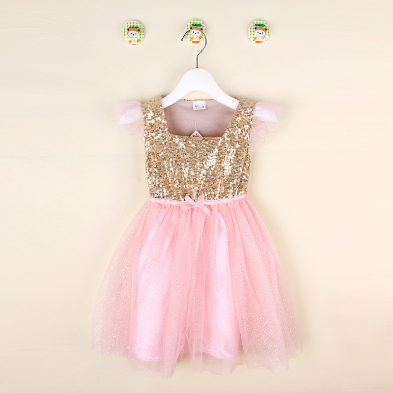 Leuke Retail Baby zomerjurk Little Girl gouden pailletten Top met roze Glitter tule stiksels Tutu jurk Kids Party Princess Dress