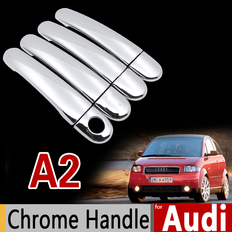 For Audi A2 Luxurious Chrome Handle Cover Trim Set 1999 2000 2001 2002 2003 2004 2005 Car Accessories Stickers Car Styling car center console armrest cover stickers for audi a4 b6 b7 2002 2003 2004 2005 2006 2007 three colors car styling accessories