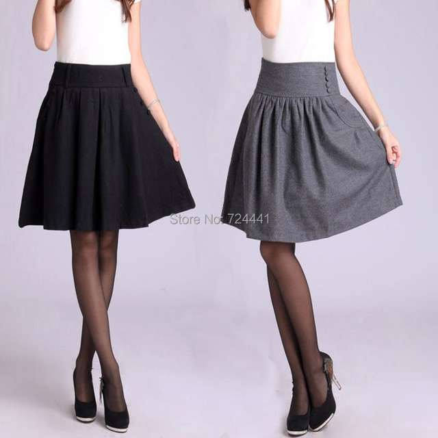 b7f90988bb7 Skirts women 2014 autumn winter woolen skirts plus size medium design  pleated skirt with five or