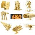 8Pcs/SetMini diy Adult Fun 3D Star Wars X Wing Golden TATA Tank Empire Destroyer Fighter Metal Puzzle Adult Education Model Toys