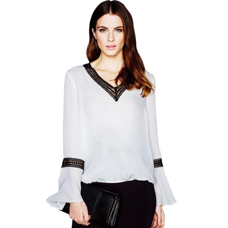 SXF50 2016 font b Women s b font V Neck Patchwork Lace Flare Sleeve Chiffon White