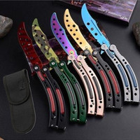 Game Knife Dull Blade No Edge Multi Color Practice Butterfly In Knife Balisong Trainer Training Pocket