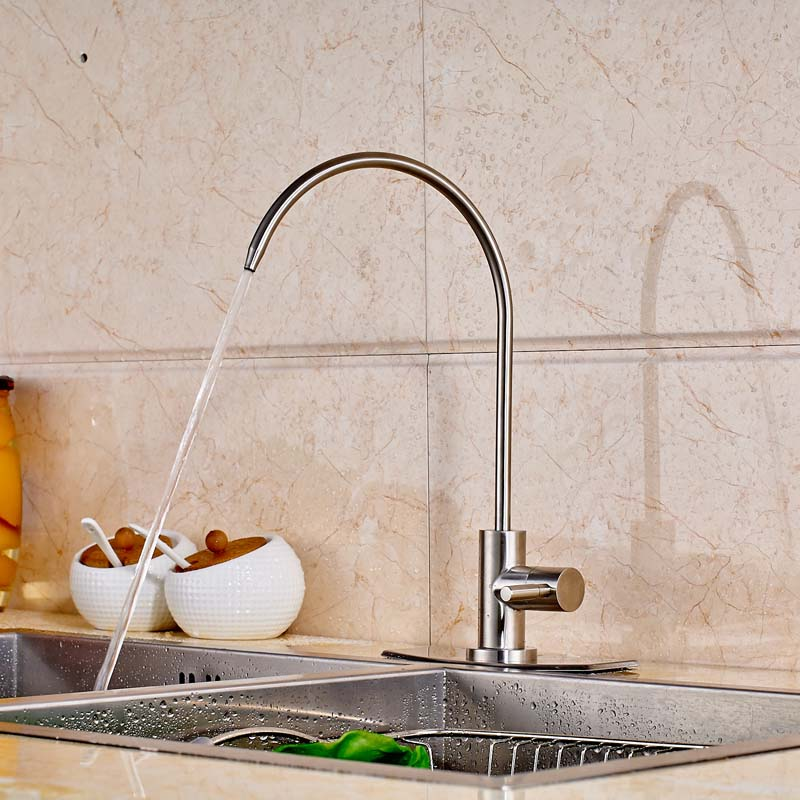 ФОТО Countertop Kitchen Sink Faucet Pure Water Tap Swivel Spout Single Cold Water Mixer Tap with Cover Plate
