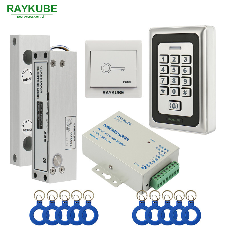 RAYKUBE Frameless Glass Door Access Control Kit Electric Bolt Lock + Metal RFID Reader Acccess Control Full Kit raykube glass door access control kit electric bolt lock touch metal rfid reader access control keypad frameless glass door