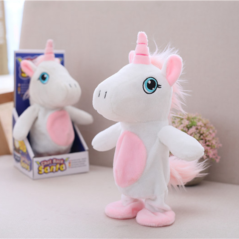 1pc 20cm Electric Walking Repeat Talking Unicorn Plush Toy Stuffed Animal Toy Music Unicorn Toy for Children Christmas Gifts