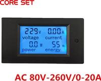 AC 80V 260V 20A 4in1 Digital LCD Display Voltmeter Ammeter Current Power Monitor Energy Amps Multimeter
