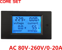 AC 80 V-260 V 20A 4in1 Digitale LCD Display Voltmeter Ampèremeter Huidige Power Monitor Energie Amps Multimeter Watt Panel Tester Meter