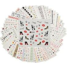 48 seti tırnak sanat dekorasyon kişilik desen manikür dövmeler su çıkartmaları tırnak şablon sanat çıkartmalar aracı A529 576