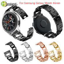 Watchband with White diamond For Samsung Galaxy Watch 46mm band Bracelet for Gear S3 Stainless Steel Replace metal wirst