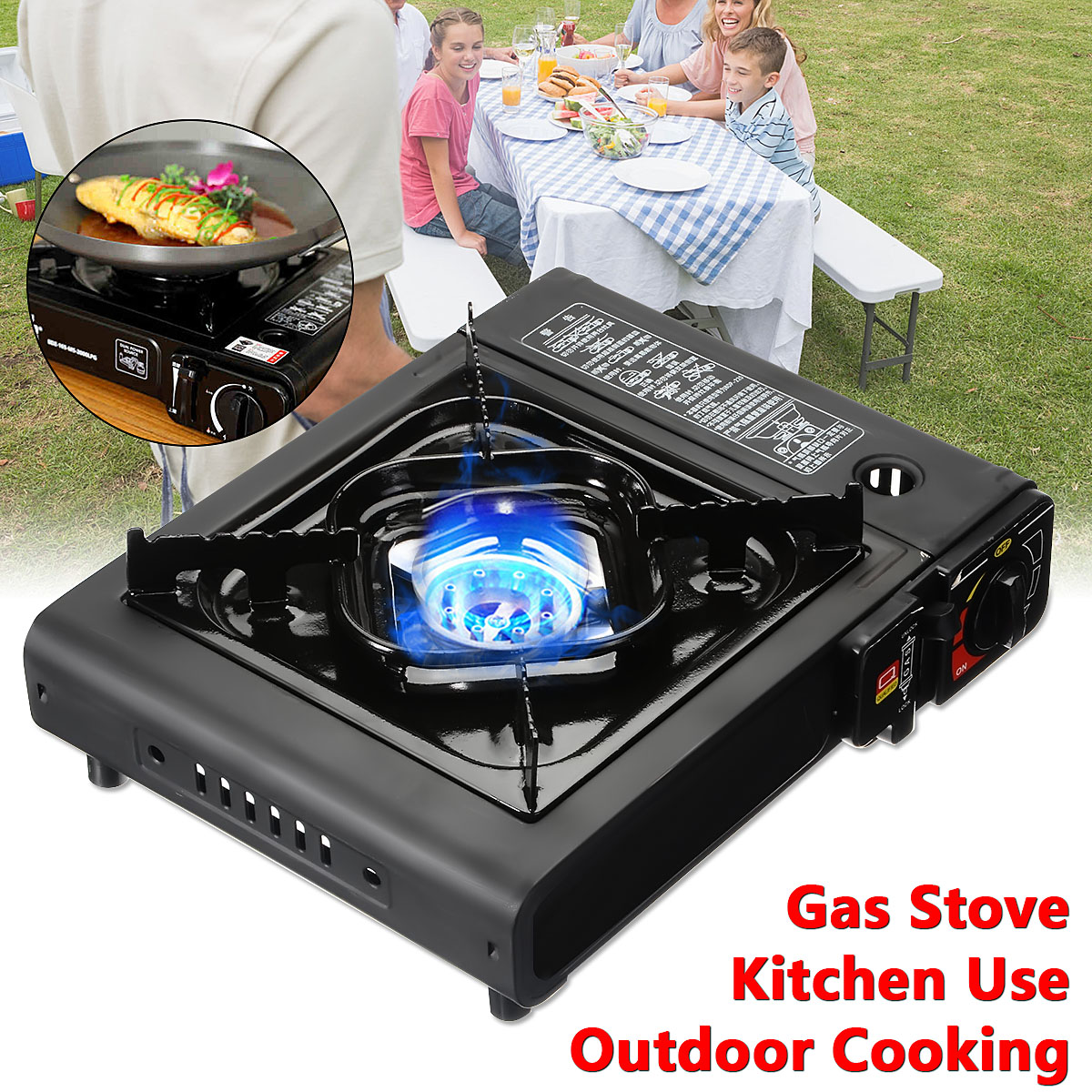 2900W Portable Camping Gas Cooking Stove Butane Burner Outdoor Picnic Kitchen Cooker