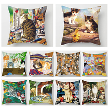 Fuwatacchi Pillow Case 45*45 Home Decor Car Cushion Cover Sofa Throw Covers Animal Cat Cojines Decorativos Office Need