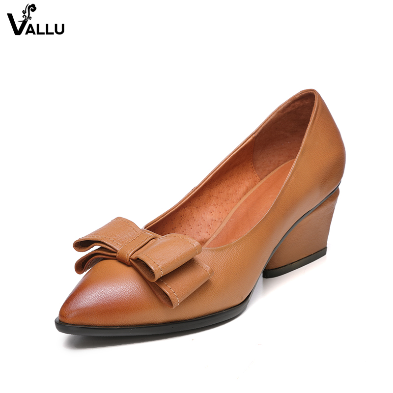 Pointed Toe Pumps Women High Heel Shoes VALLU Natural Leather Bow-Knot Heeled Shoes Lady Casual Shallow Female Dress Shoes bigtree spring summer women pumps sweet bow knot high heeled shoes thin pink high heel shoes hollow pointed stiletto elegant 22
