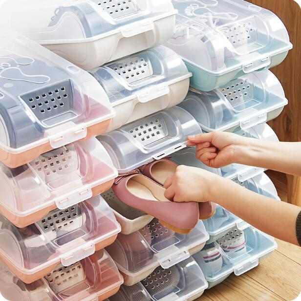 Transparent Plastic Shoes Storage Box Dustproof Stacked Boxes Thickened Shoes Organizer