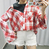 New Autumn Women Fashion Stitching Fake Two Pieces Plaid Shirt Female Long Sleeve Korean Version College