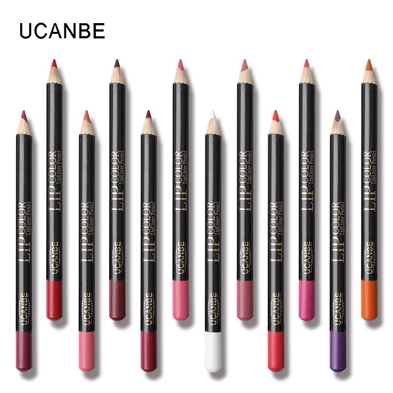 UCANBE 12pcs/Set Multi-Color Ultra Matte Lip Liner Pencil Rouge Waterproof Wooden Lip Pen Makeup Lasting Velvet Shape Lips Liner 3