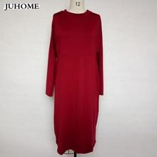 Plus Size Dress new winter autumn Elegant Casual Loose Large size female o-neck red midi dress