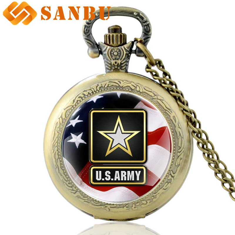 Classic Fashion American Flag Jewelry Vintage Bronze United States Army Quartz Pocket Watch
