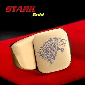 Aço soldado de aço inoxidável dos homens do estilo do filme game of thrones moda popular anel ice lobo homens de aço de titânio jóias