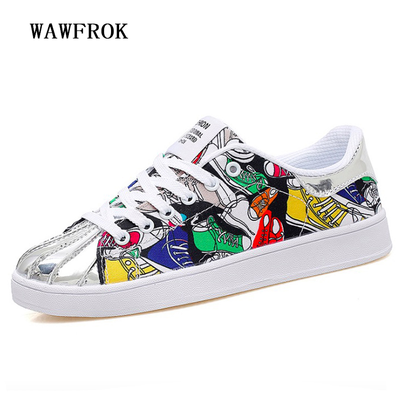 Women Sneakers 2018 Summer Women Casual Shoes Fashion Graffiti Breathable Canvas Flats Women Shoes e lov fashion luminous constellation canvas shoes low top sagittarius horoscope graffiti casual walking shoes for women
