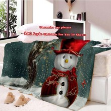 500 Style Christmas Blanket Flannel Printed Snowman Anta Claus Customizable White Blankets for Beds Sofa
