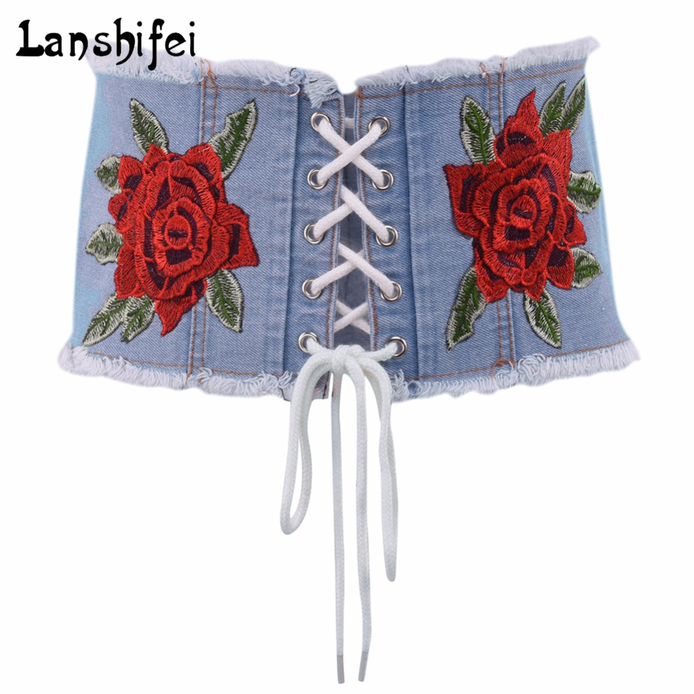 Fashion Jean Tied Up Corset Belt Womens Adjustable Wide Waist Belts Summer Autumn New Embroidery Rose Blue Belts For Ladies Girl