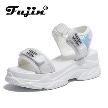 Fujin High Heeled Sandals Female Summer 2019 Women Thick Bottom Shoes Wedge with Open Toe Platform Shoes Increased Shoes(China)