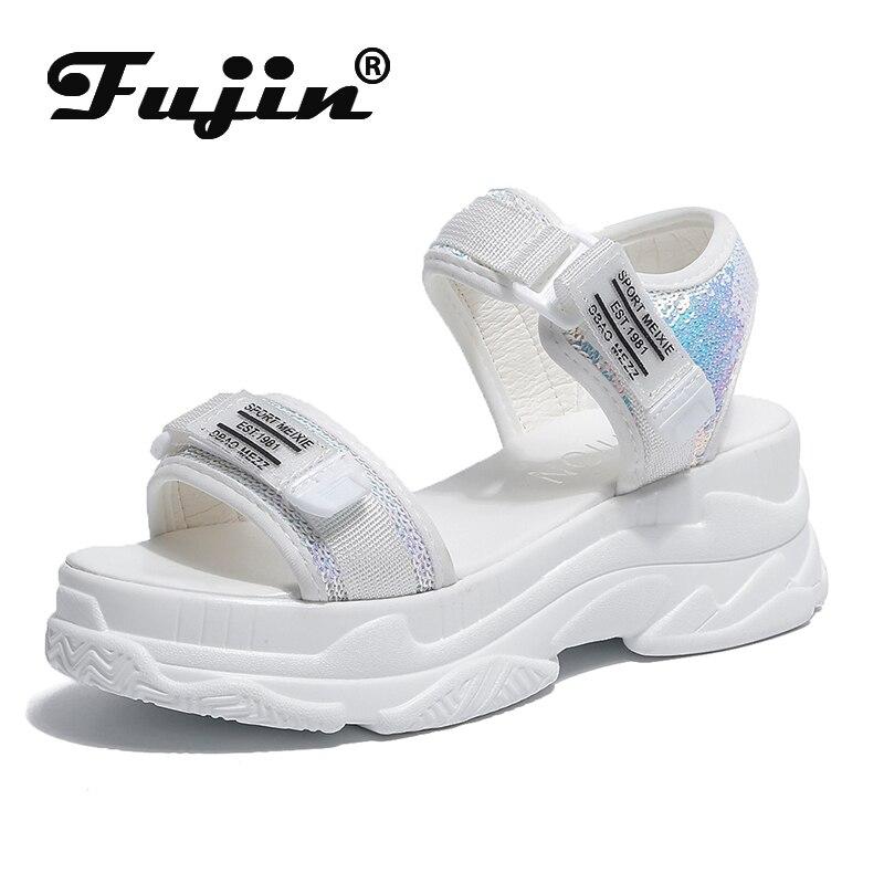 Fujin Hochhackigen Sandalen Weiblichen Sommer 2019 Frauen Dicken Boden Schuhe Keil mit Offene spitze Plattform Schuhe Erhöhte Schuhe