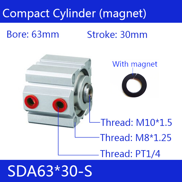 SDA63*30-S Free shipping 63mm Bore 30mm Stroke Compact Air Cylinders SDA63X30-S Dual Action Air Pneumatic Cylinder
